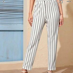 High waisted striped straight leg l
